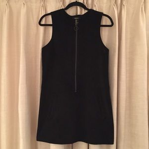 Black Suede Drees with Zipper and Pockets